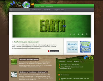 Snapshot of Eco Friendly Green Earth WordPress Blog Install