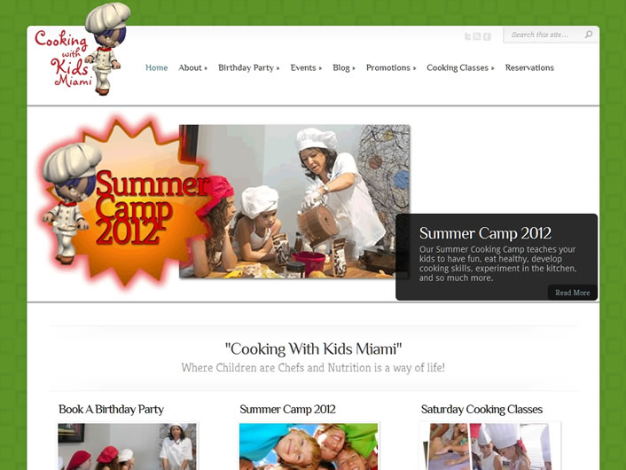 Cooking with Kids Miami, theme customizations using Elegant Themes